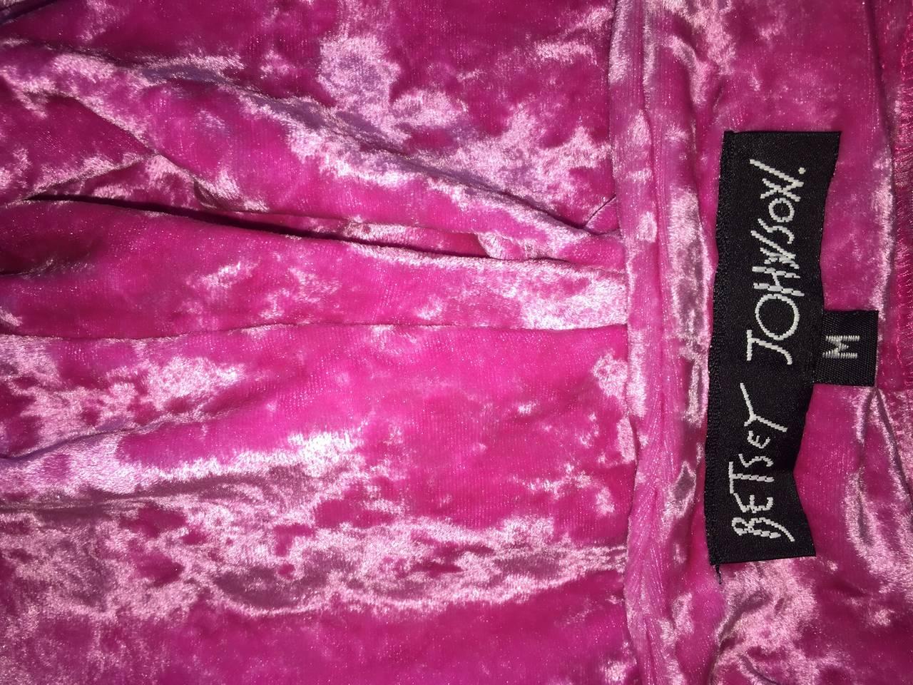 Iconic 1990s Vintage Betsey Johnson ' Barbie ' Crushed Velveteen Bodycon Dress 7