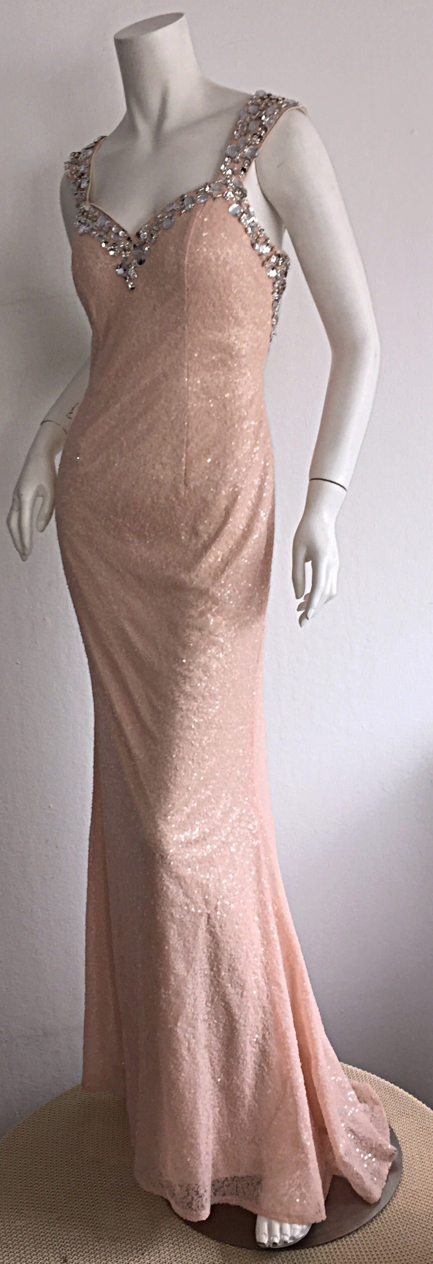 Stunning Early 1990s Custom All Over Sequin + Crystals Pink Vintage Mermaid Gown 2