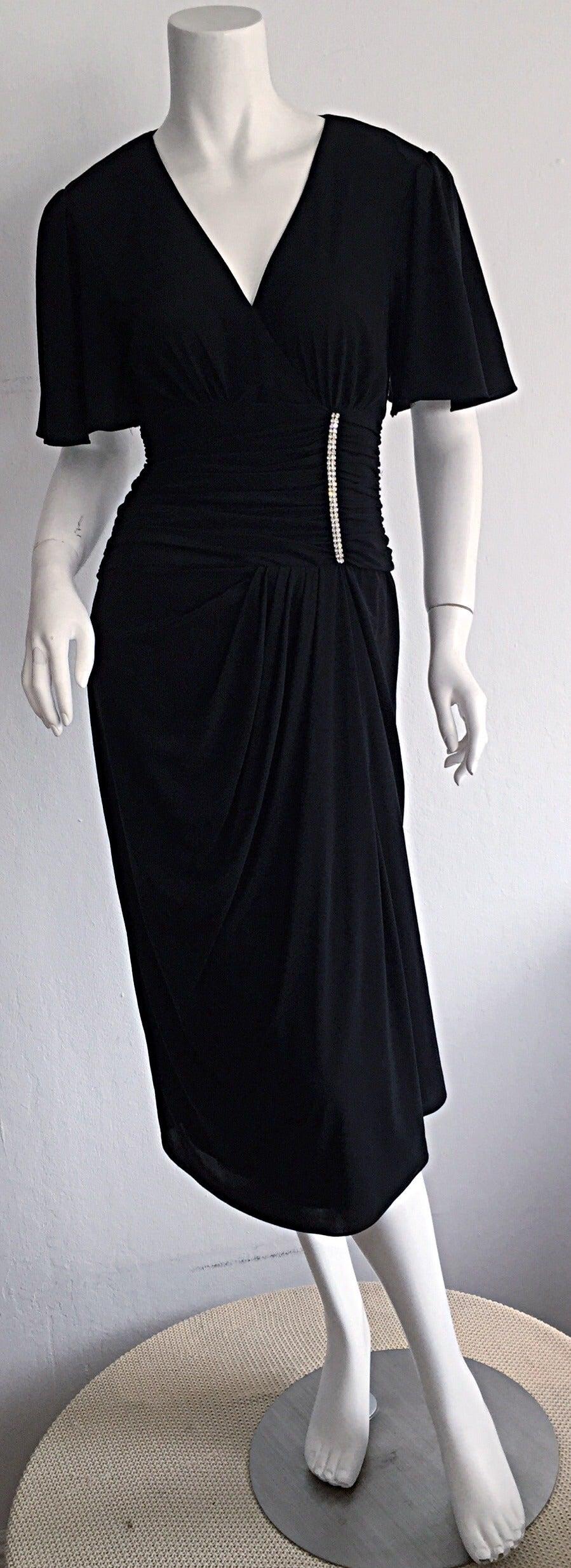 Black dress neiman marcus - Gorgeous Vintage Neiman Marcus 1940s Style Classic Black Dress W Rhinestones 2