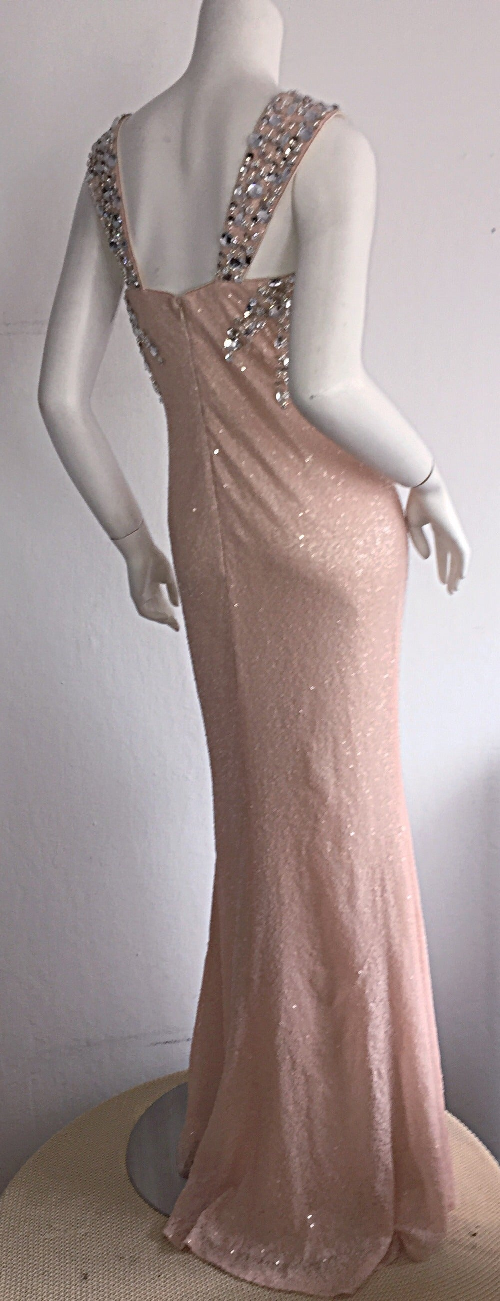 Stunning Early 1990s Custom All Over Sequin + Crystals Pink Vintage Mermaid Gown 3
