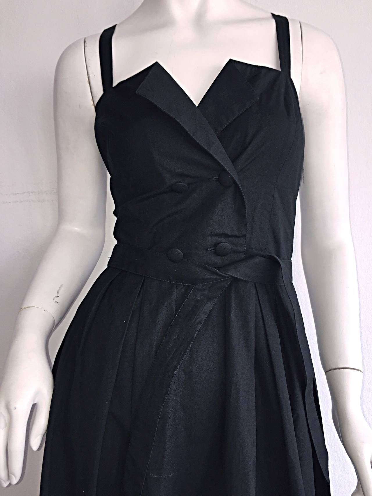 Beautiful Vintage Emmanuelle Khanh Black Cotton Tuxedo Sundress French Dress 2