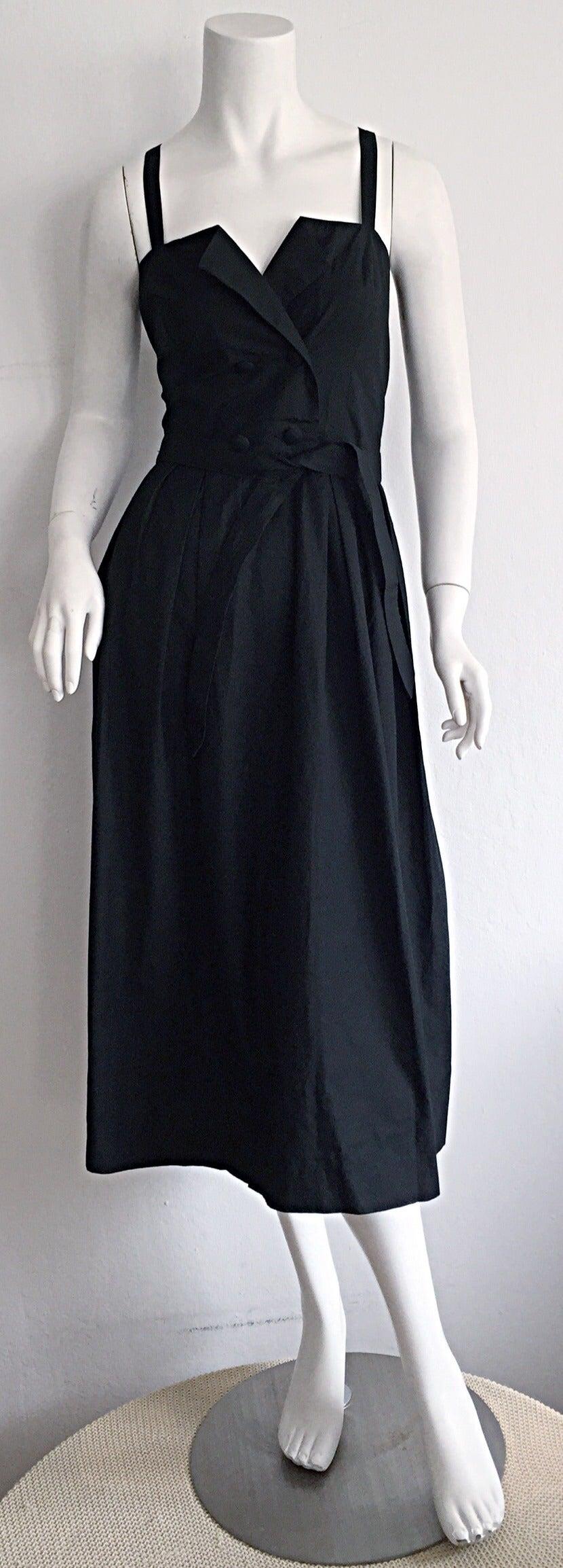Beautiful Vintage Emmanuelle Khanh Black Cotton Tuxedo Sundress French Dress 3