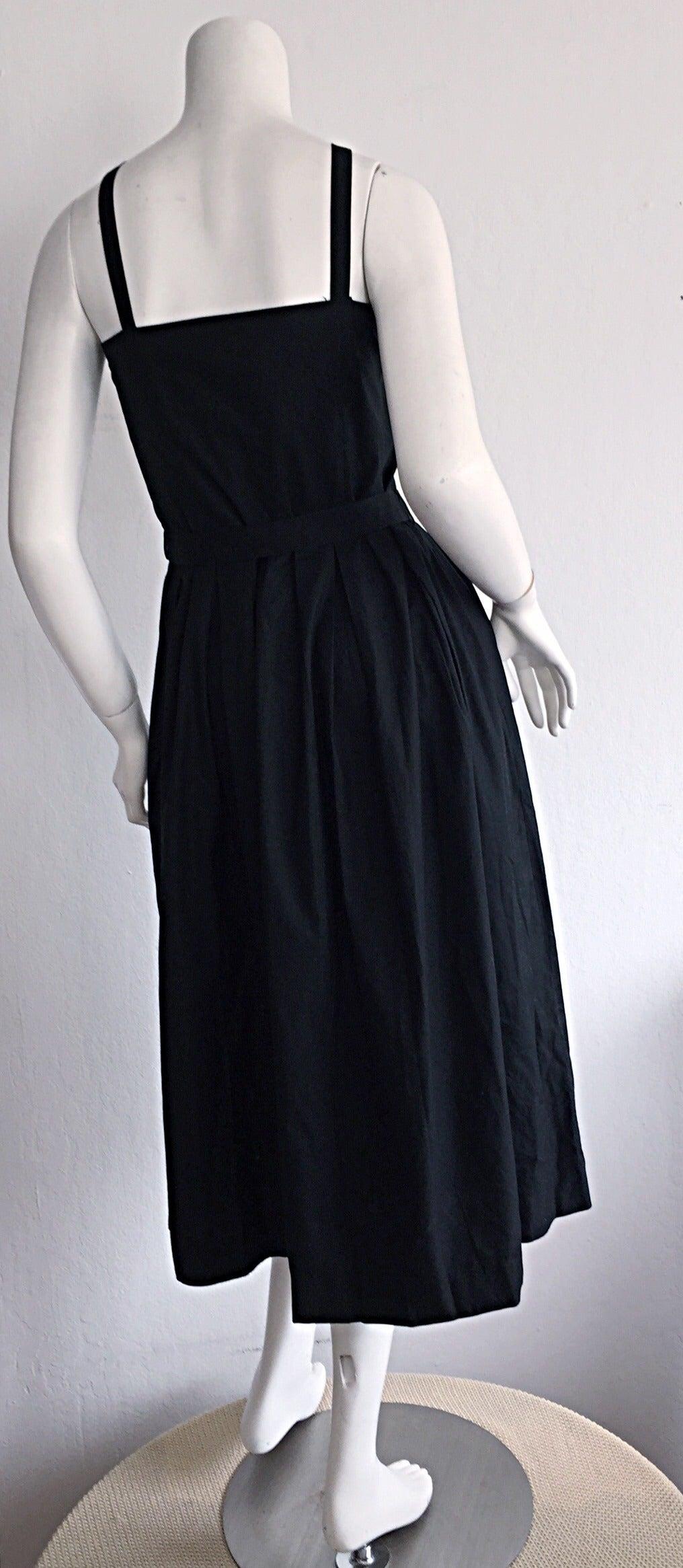 Beautiful Vintage Emmanuelle Khanh Black Cotton Tuxedo Sundress French Dress 4
