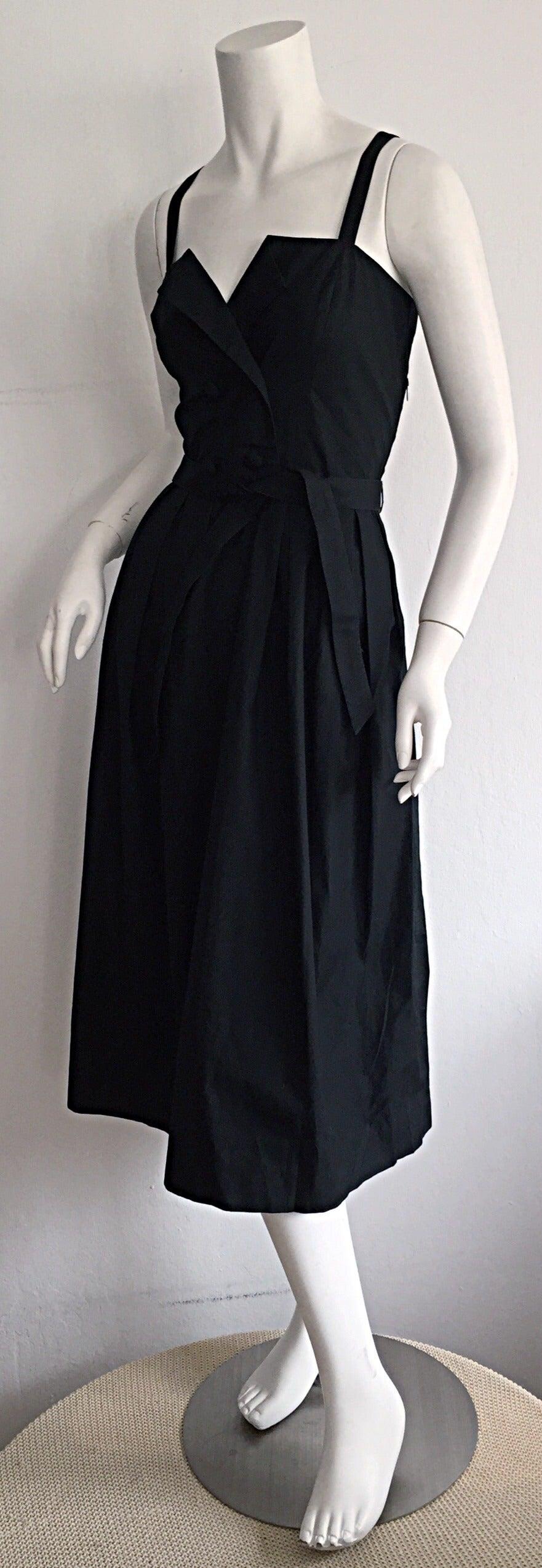 Beautiful Vintage Emmanuelle Khanh Black Cotton Tuxedo Sundress French Dress 5