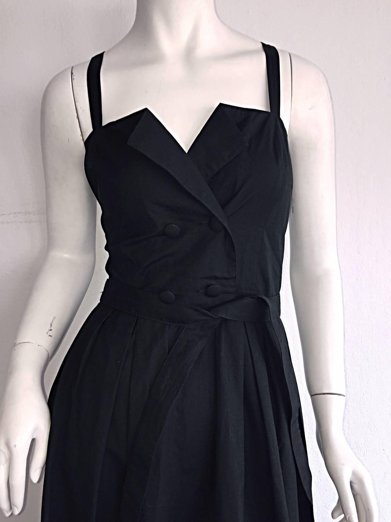 Beautiful Vintage Emmanuelle Khanh Black Cotton Tuxedo Sundress French Dress 6