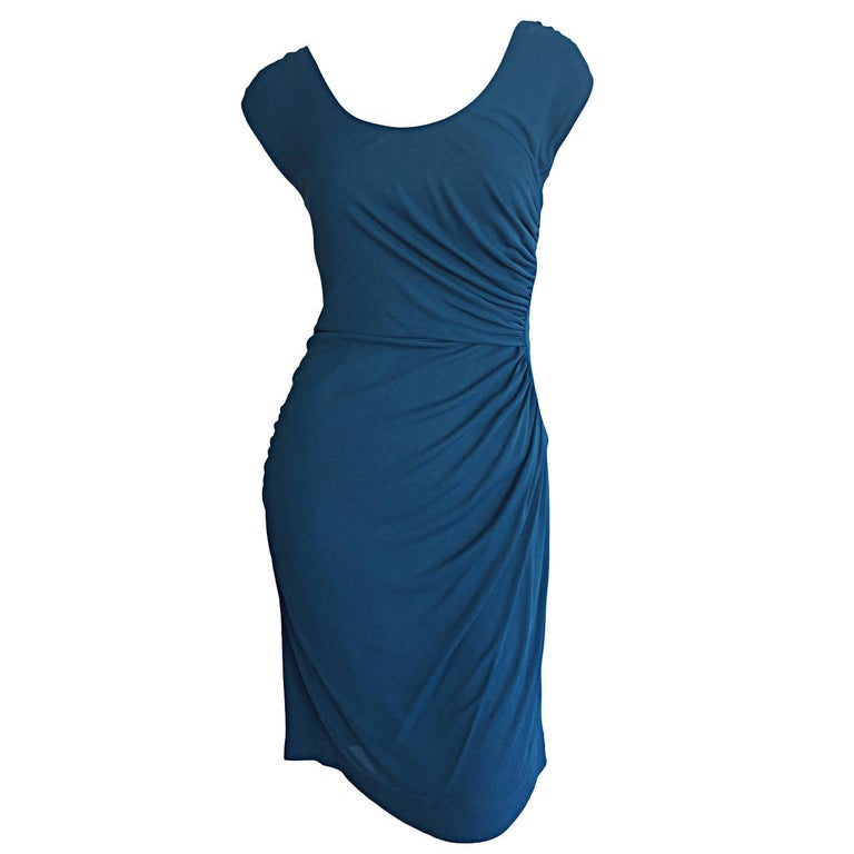 1990s Alberta Ferretti Size 6 / 8 Vintage Blue Jersey Draped Grecian Dress For Sale