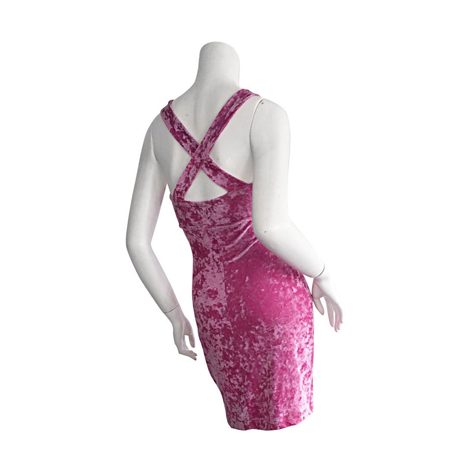 Iconic 1990s Vintage Betsey Johnson ' Barbie ' Crushed Velveteen Bodycon Dress 1