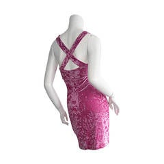 Iconic 1990s Vintage Betsey Johnson ' Barbie ' Crushed Velveteen Bodycon Dress