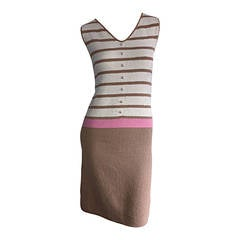 Adorable 1960s St. John Pink + Tan Stripe Knit Twiggy Dress w/ Pearls