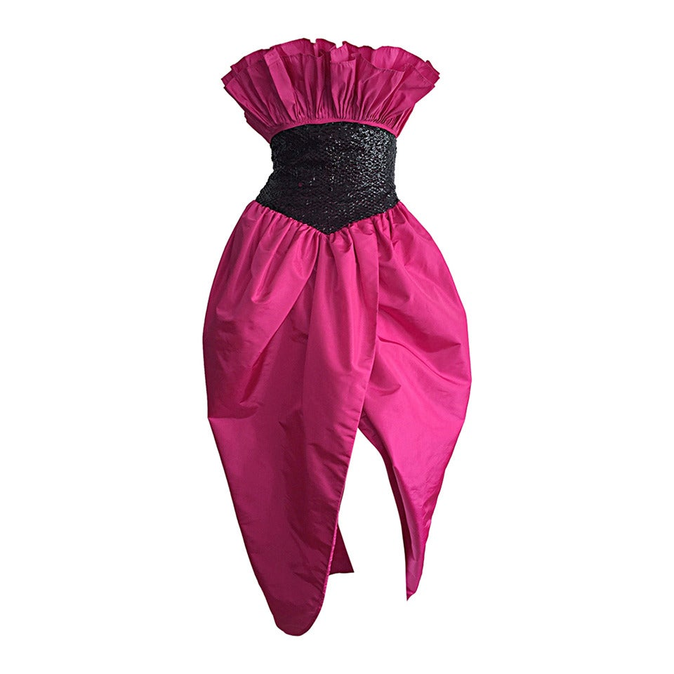 Incredible Vintage Victor Costa for Neiman Marcus Hot Pink Origami Tulip Dress