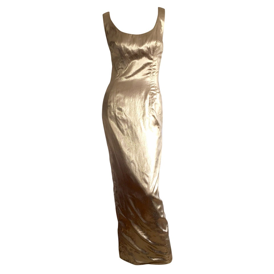 Bombshell 1950s 1960s Mr. Blackwell Custom Couture Gold Metallic Wiggle Dress