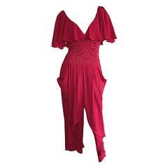 Beautiful Vintage Eletra Casadei Lipstick Red Flutter Dress w/ Rhinestones