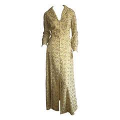 Beautiful Jack Bryan 1960s 1970s Pale Yellow Heavily Beaded Lace Dress