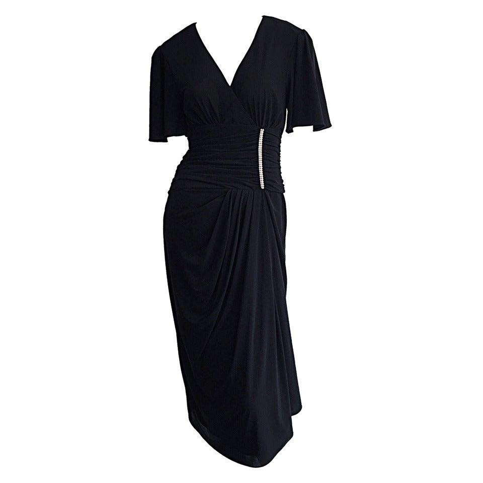 Black dress neiman marcus - Gorgeous Vintage Neiman Marcus 1940s Style Classic Black Dress W Rhinestones 1