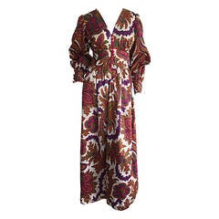 1970s Psychedelic Paisley Bohemian Billow Sleeve Silk Maxi Dress