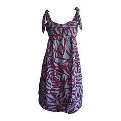 Marc Jacobs Blue 3 - D Rose Print ' Zebra ' Silk Bubble Dress
