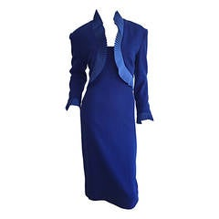 Vintage Travilla Royal Blue Fan Pleated Bolero Dress