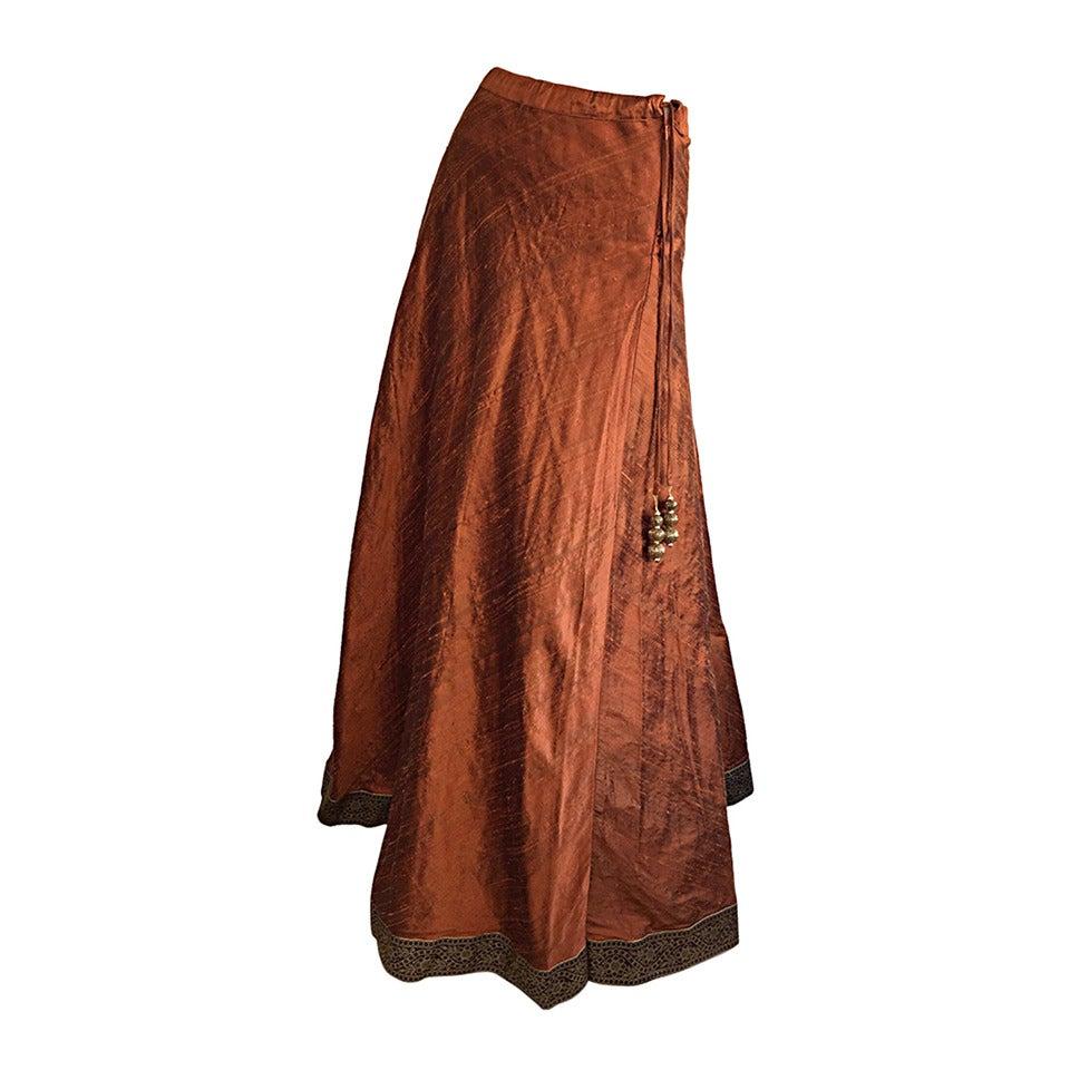 1970s Vintage Burnt Orange Raw Silk Indian Bohemian Tassel Maxi Skirt 1