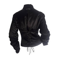 1990s Vintage Jean Paul Gaultier Corset Lace Up Back Bomber Jacket