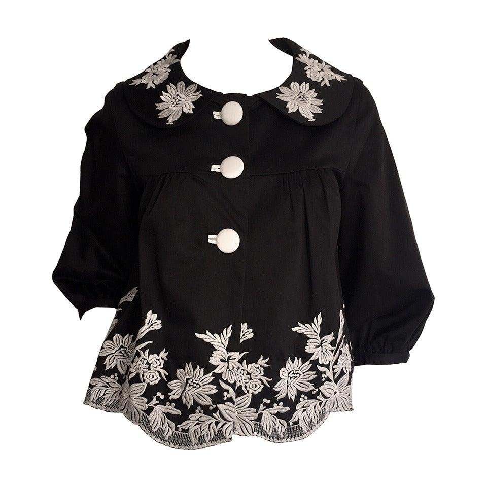 Black Flower 21st Century Op Art Set: Wonderful Marc Jacobs Black + White Floral Cotton Trapeze