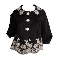 Wonderful Marc Jacobs Black + White Floral Cotton Trapeze / Swing Jacket