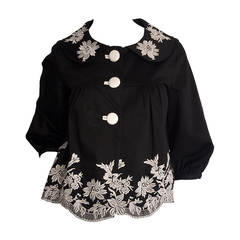 Wonderful Marc Jacobs Black + White Floral Cotton Trapeze / Swing Jacket