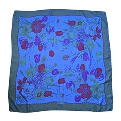 Beautiful Vintage Gucci Tulipano Blue Flower Tulip Print Large 1970s Silk Scarf