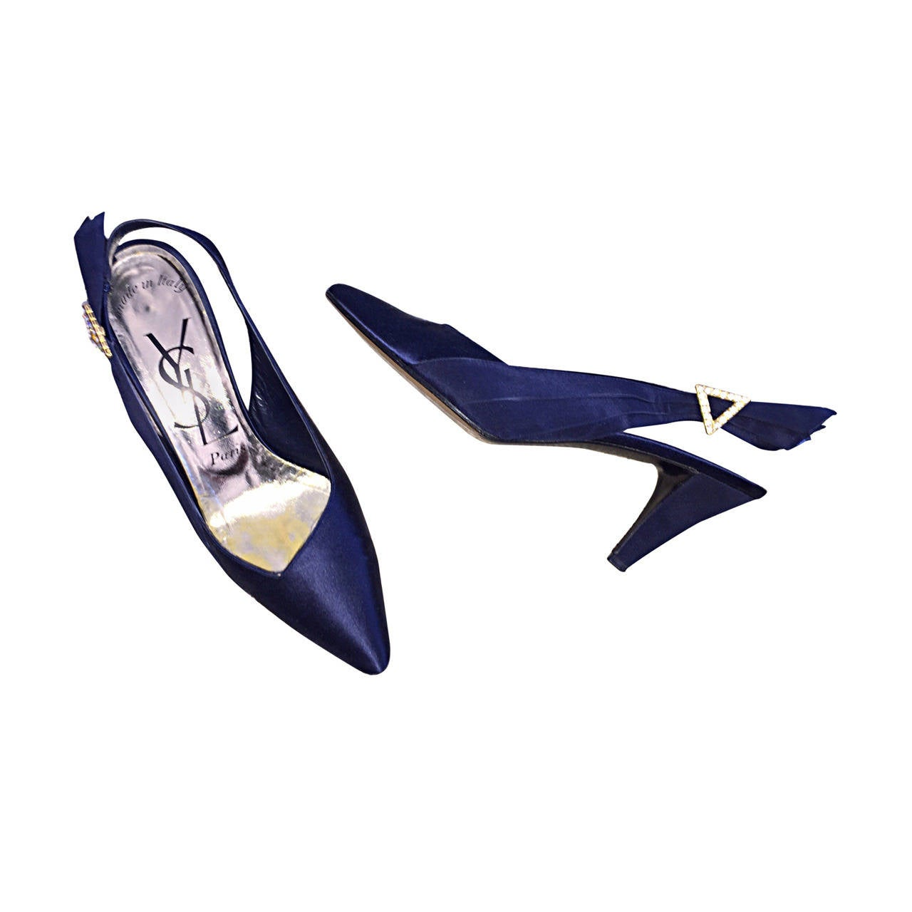 f6d7147df Yves Saint Laurent Navy Blue 8.5 Rhinestone Vintage Heels Shoes Avant Garde  For Sale. Beautiful vintage Yves Saint Laurent YSL ...