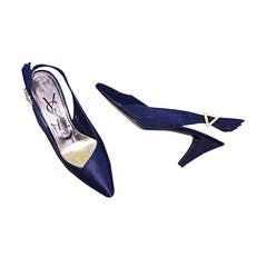 Yves Saint Laurent Navy Blue 8.5 Rhinestone Vintage Heels Shoes Avant Garde