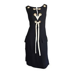 Rare 1960s Pierre Cardin Black Grommet Space Age 60s Vintage Linen Shift Dress