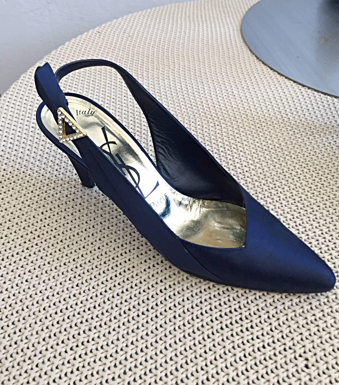 Yves Saint Laurent Navy Blue Avant Garde Rhinestone Vintage Heels Shoes Size 8.5 5