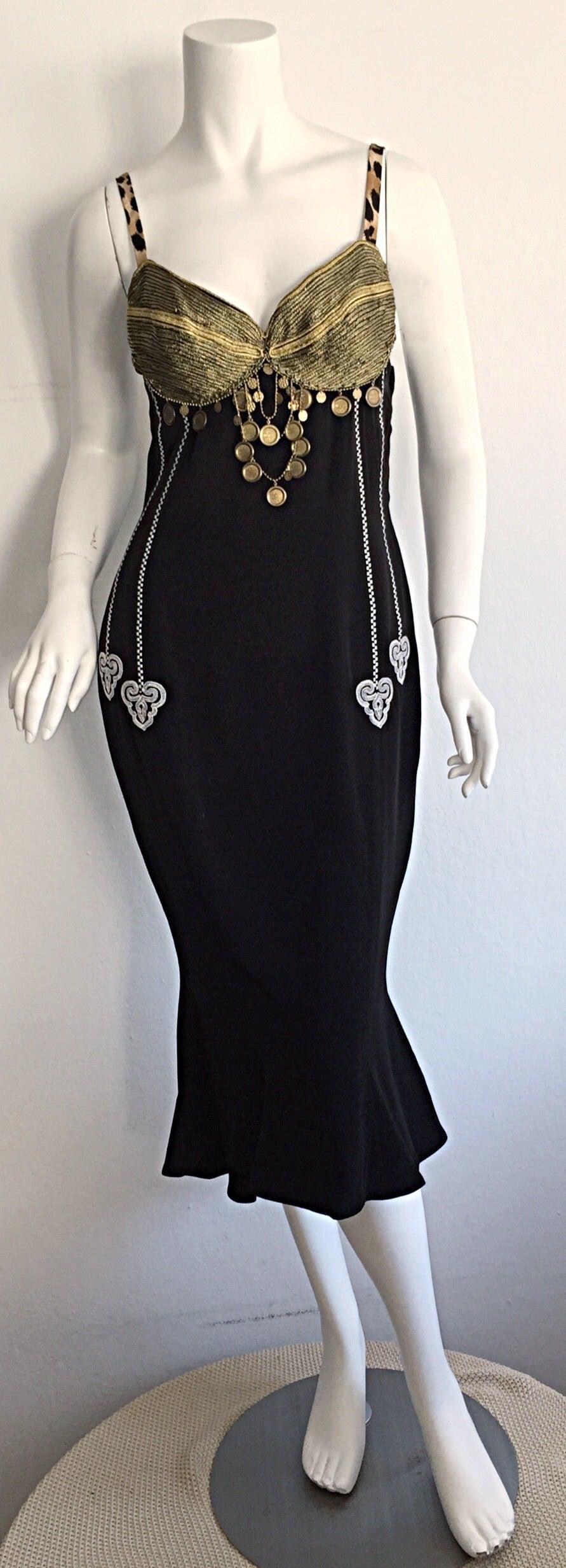 Black dress vintage - Super Rare Vintage Future Rifat Ozbek Sexy Ethnic Black Coin Dress 2