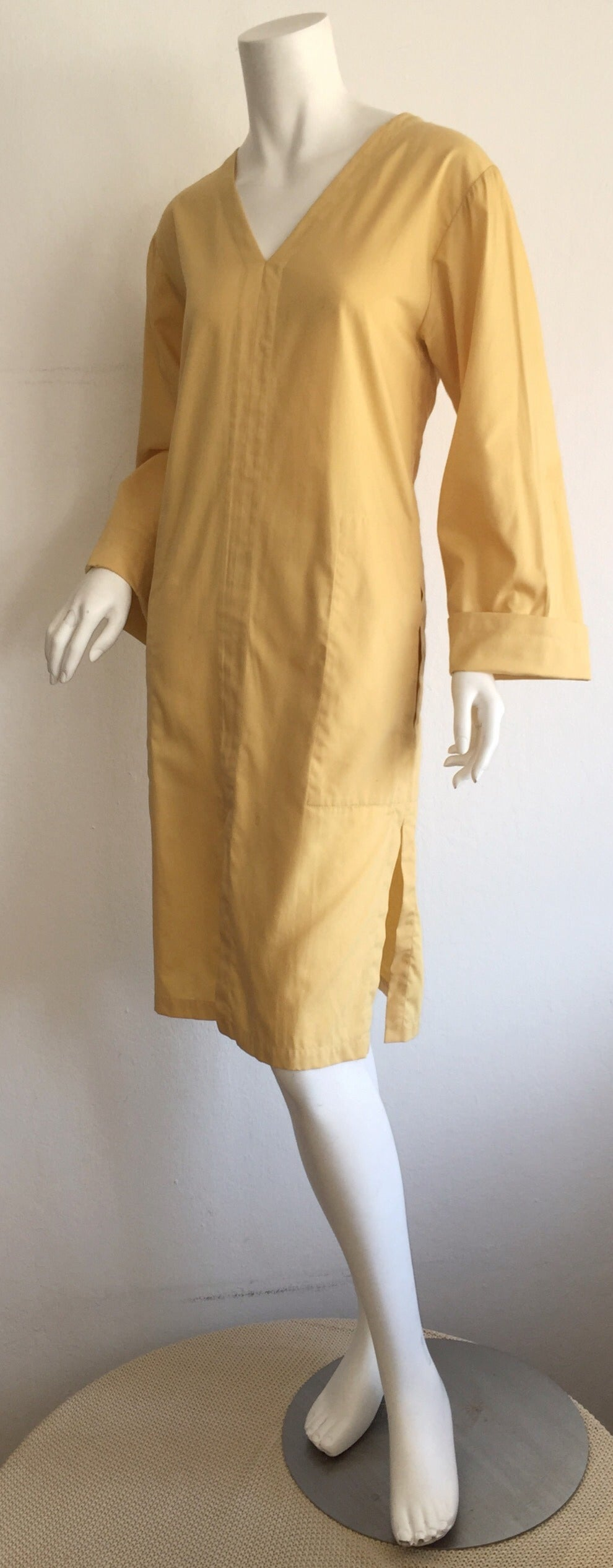 Vintage Yves Saint Laurent ' Rive Gauche ' Yellow Cotton Tunic Dress YSL In Excellent Condition For Sale In San Francisco, CA