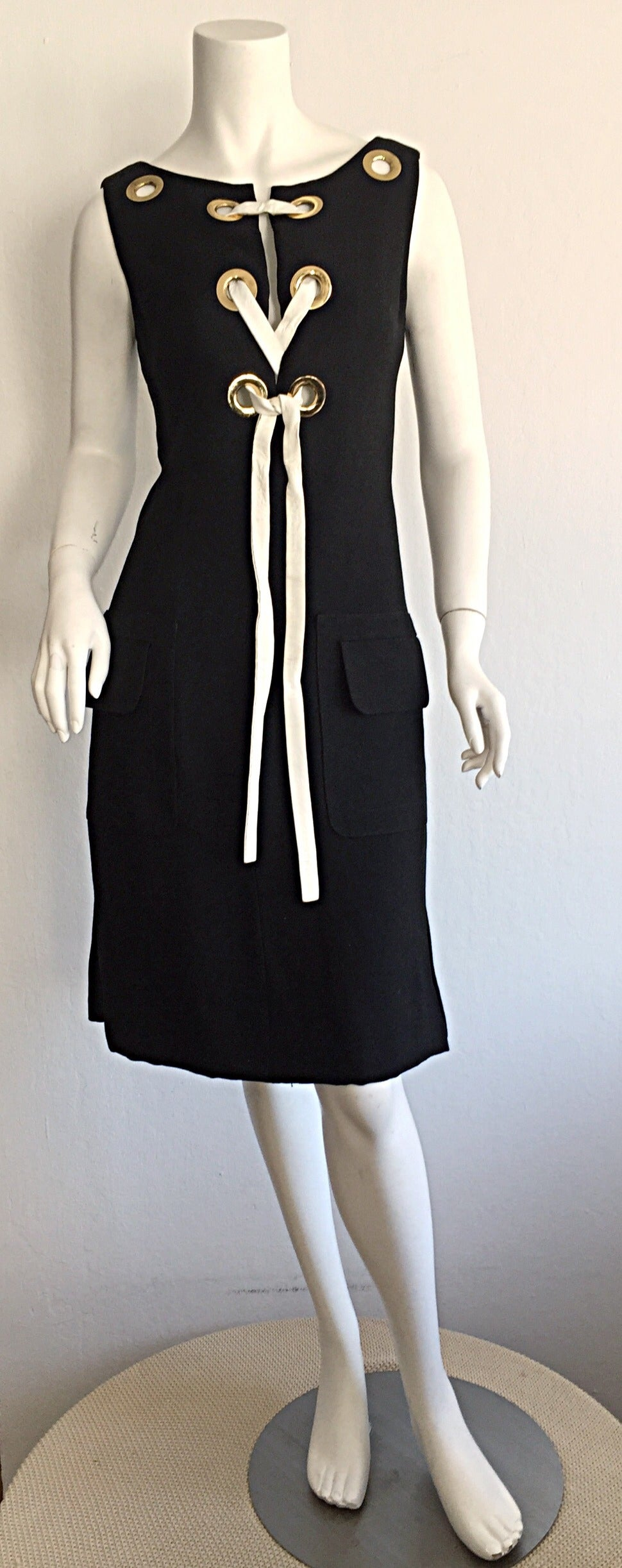 Rare 1960s Pierre Cardin Black Grommet Space Age 60s Vintage Linen Shift Dress 2