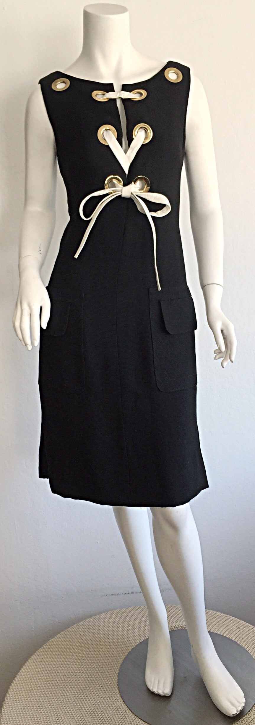Rare 1960s Pierre Cardin Black Grommet Space Age 60s Vintage Linen Shift Dress 3