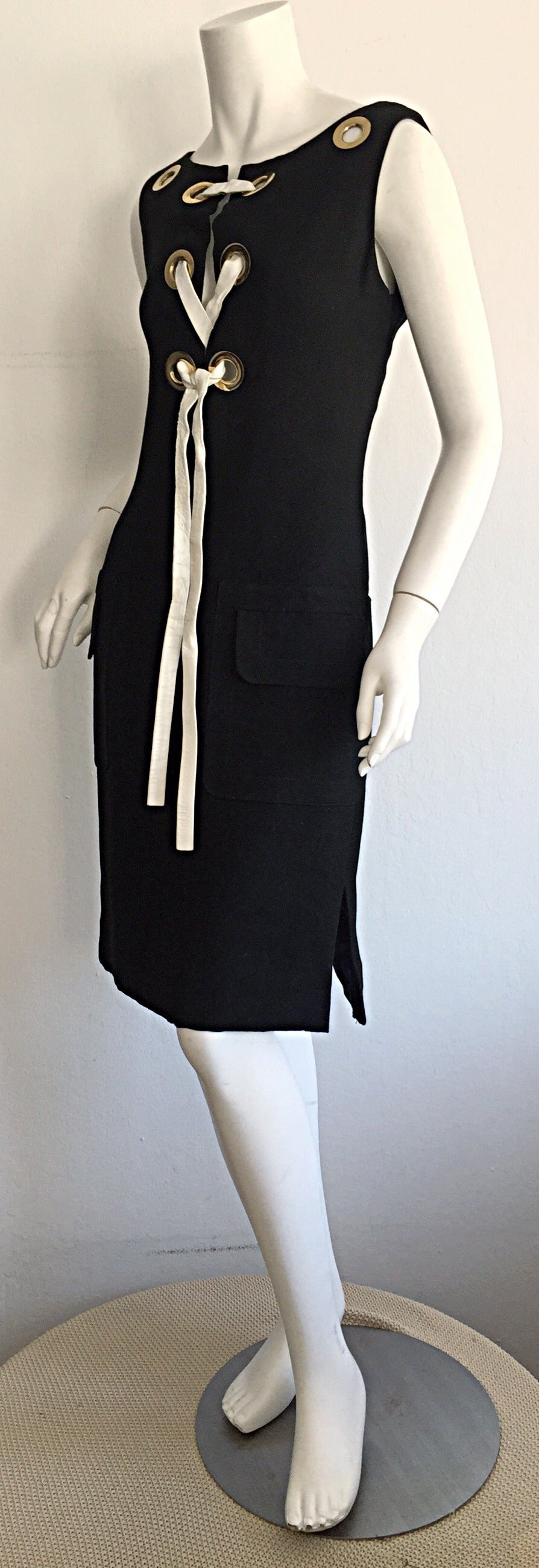 Rare 1960s Pierre Cardin Black Grommet Space Age 60s Vintage Linen Shift Dress 4