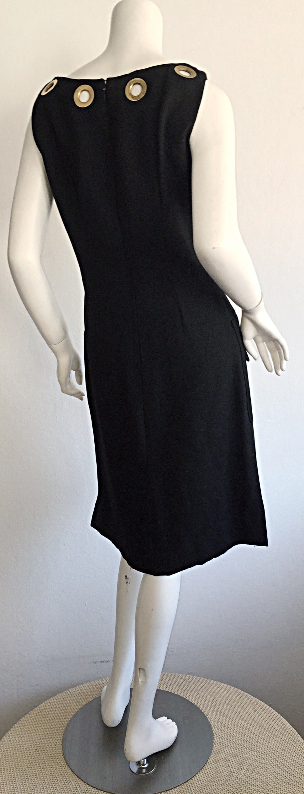 Rare 1960s Pierre Cardin Black Grommet Space Age 60s Vintage Linen Shift Dress 5