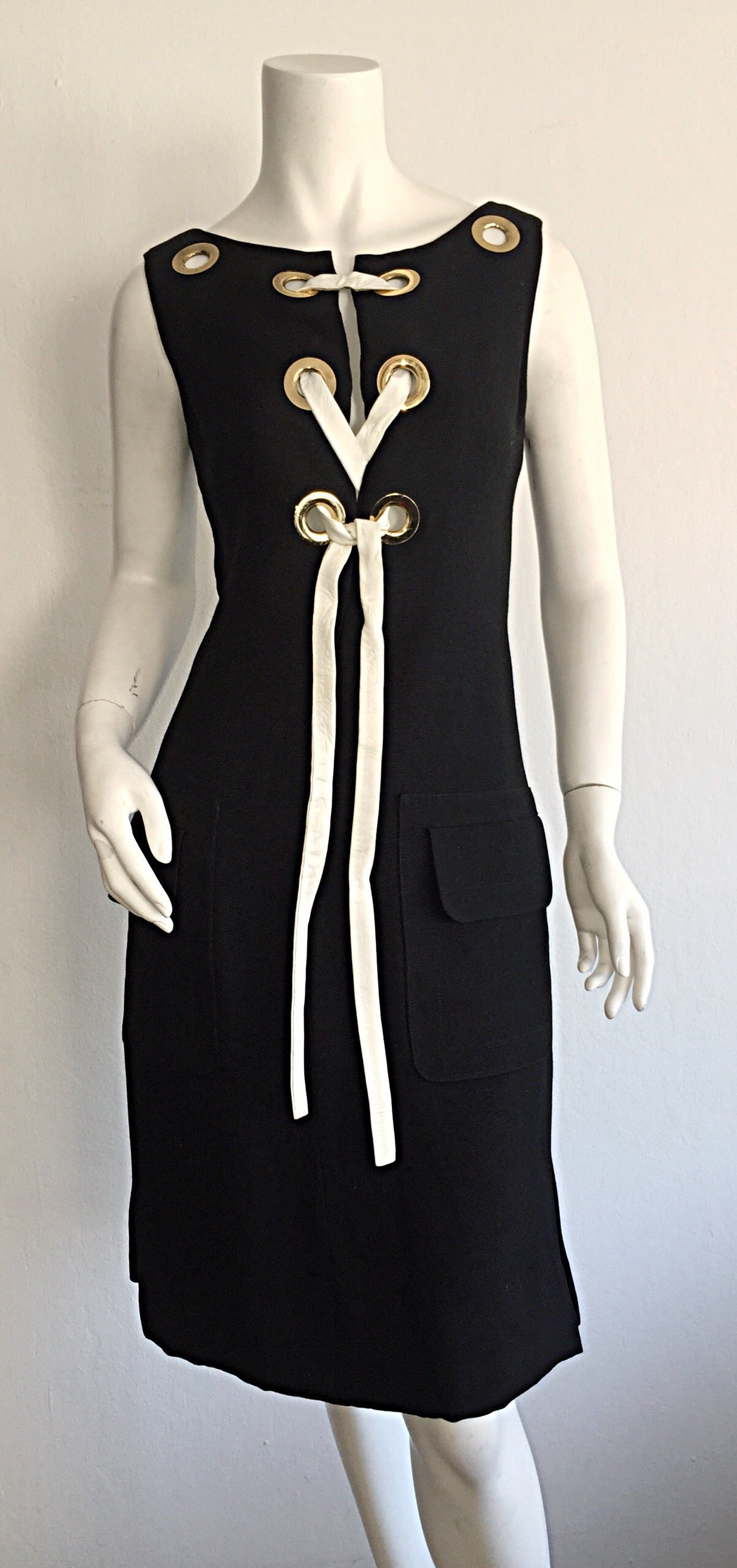 Rare 1960s Pierre Cardin Black Grommet Space Age 60s Vintage Linen Shift Dress 7