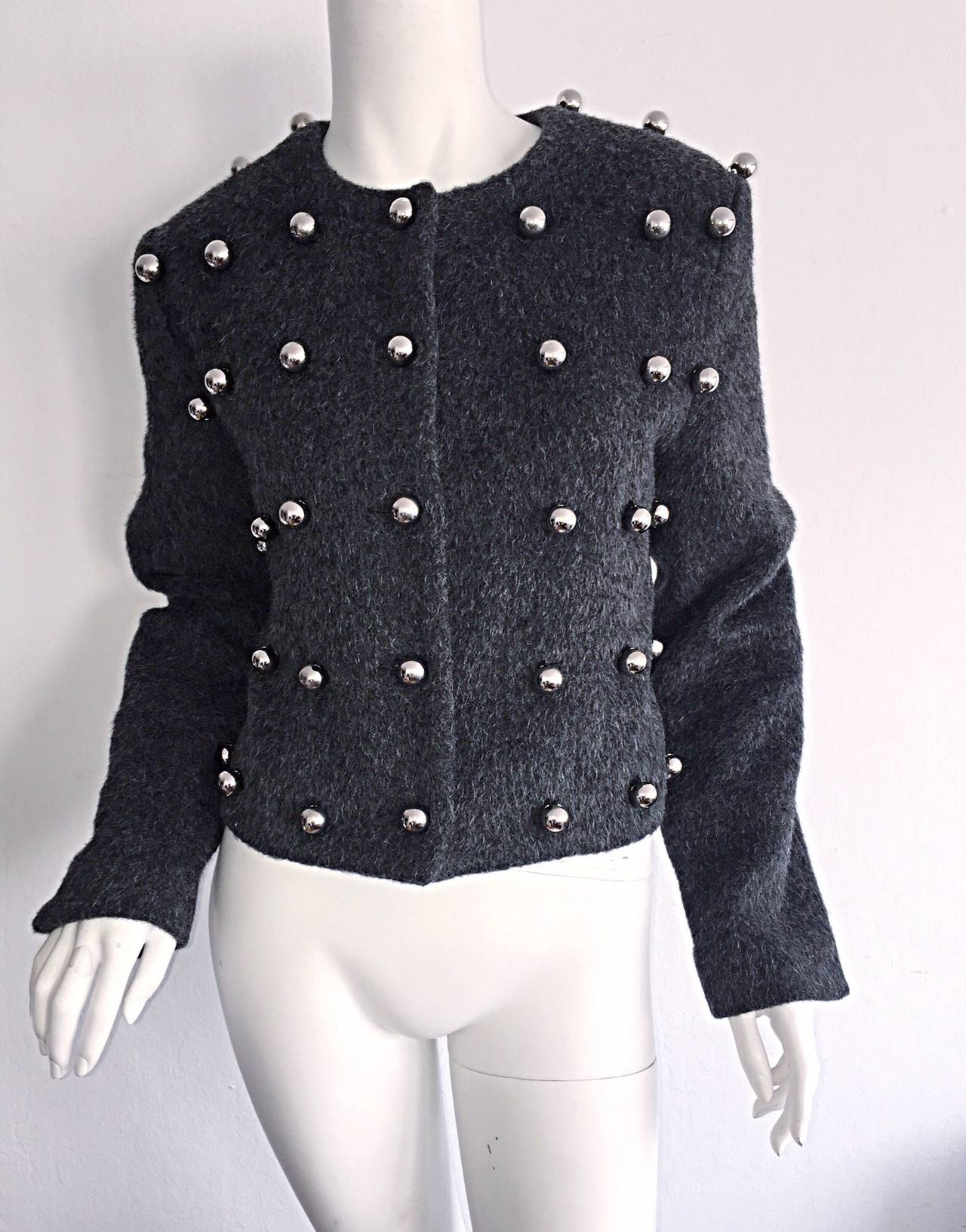 Black Vintage Patrick Kelly Charcoal Gray 3 - D Silver Ball Jacket For Sale