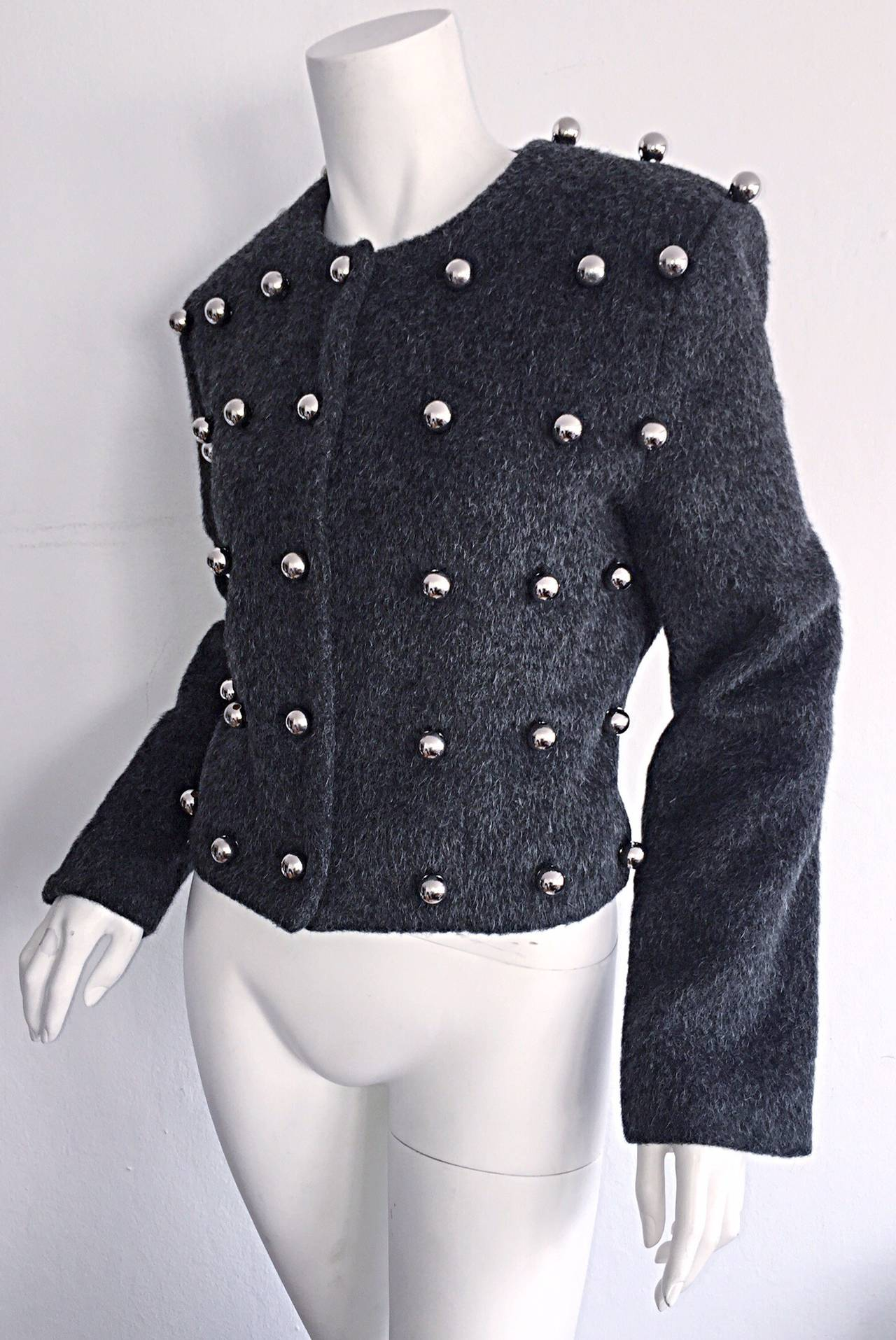 Vintage Patrick Kelly Charcoal Gray 3 - D Silver Ball Jacket For Sale 1