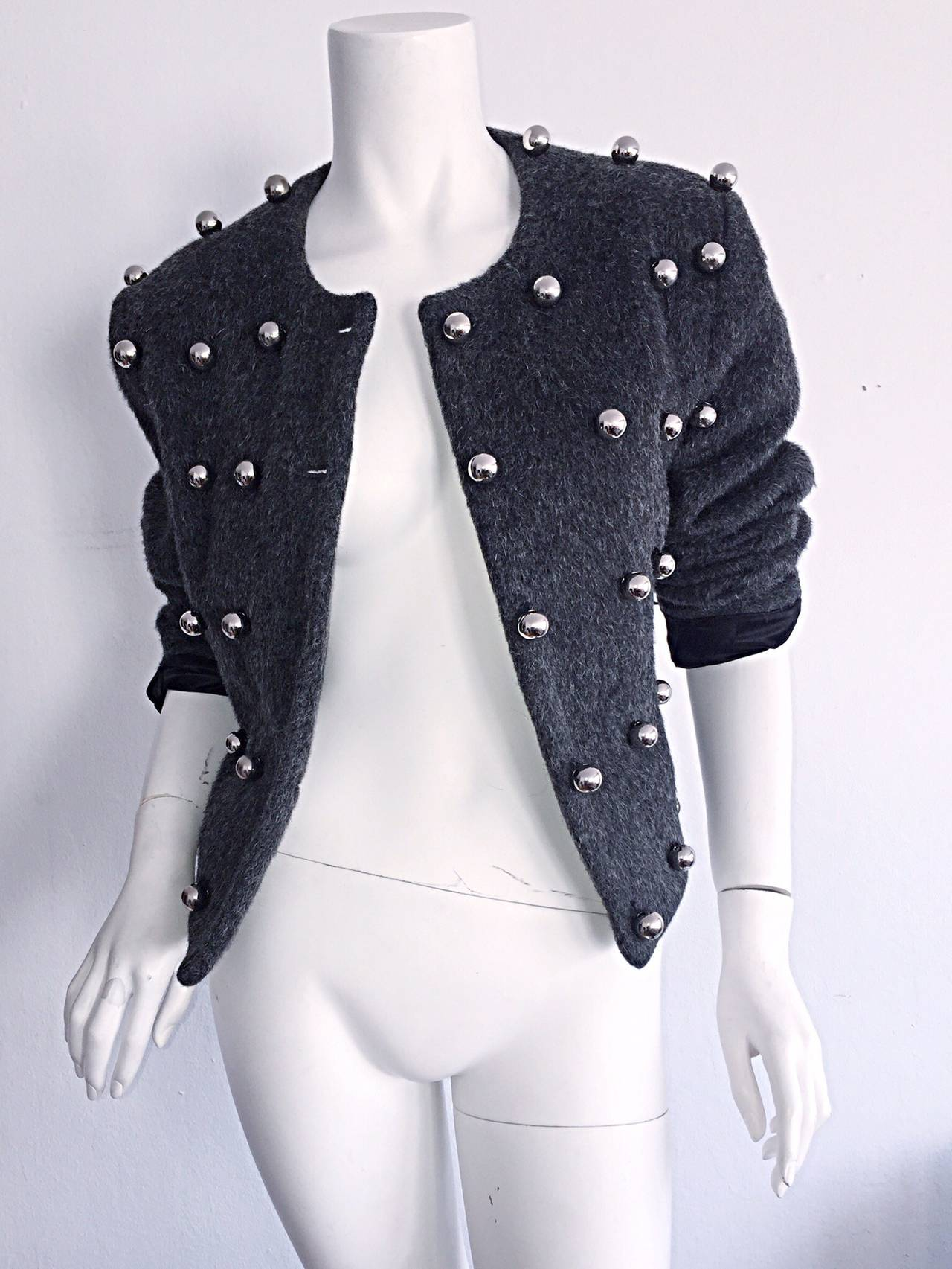 Vintage Patrick Kelly Charcoal Gray 3 - D Silver Ball Jacket For Sale 2