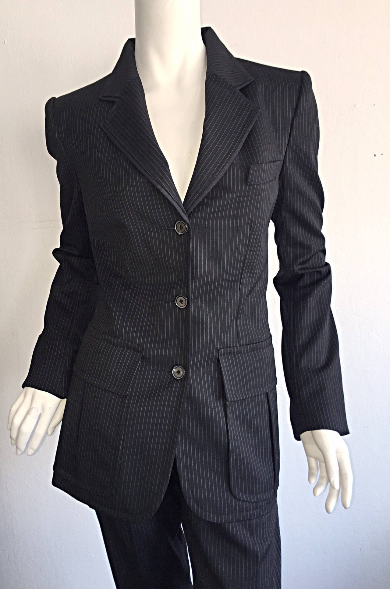 Tom Ford for Yves Saint Laurent Black + White Pinstripe Le Smoking Trouser Suit For Sale 3