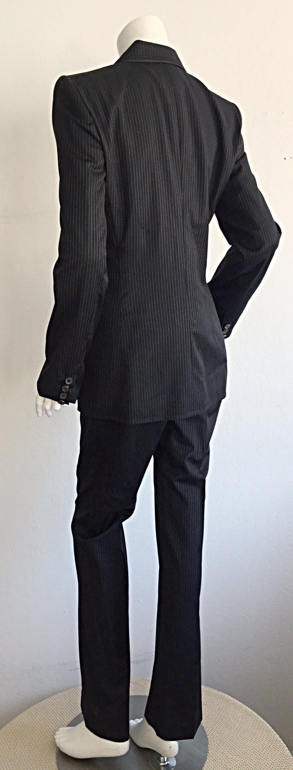 Tom Ford for Yves Saint Laurent Black + White Pinstripe Le Smoking Trouser Suit For Sale 1