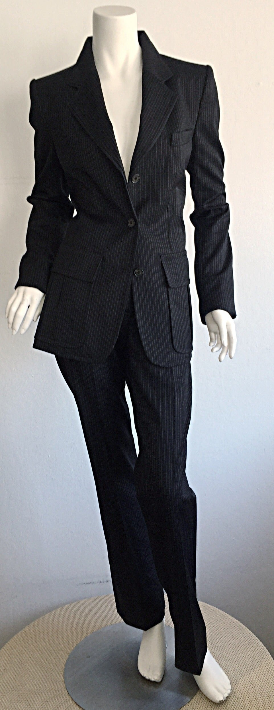 Tom Ford for Yves Saint Laurent Black + White Pinstripe Le Smoking Trouser Suit In New Condition For Sale In Chicago, IL