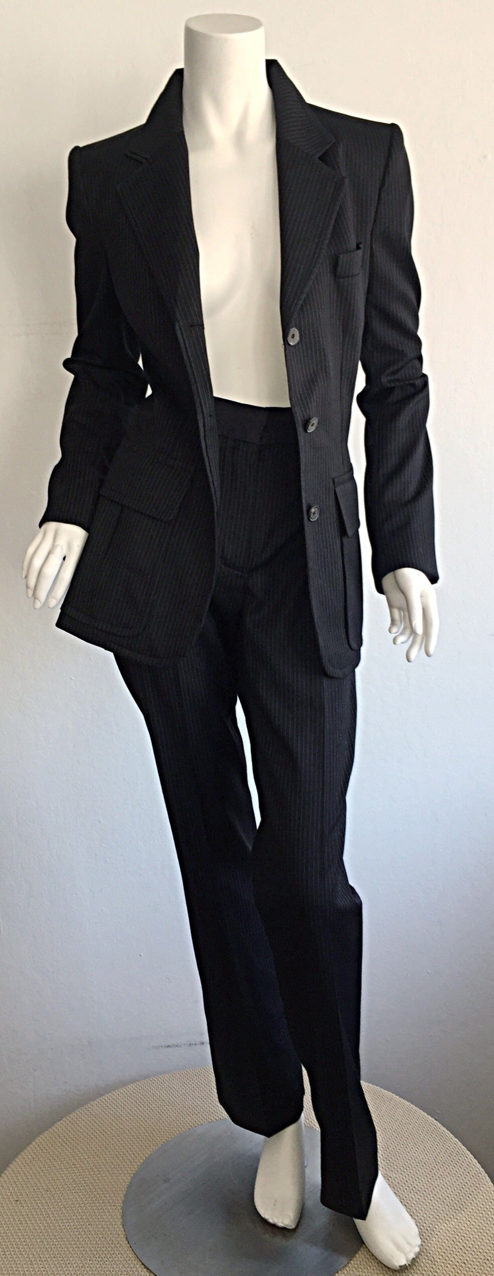 Tom Ford for Yves Saint Laurent Black + White Pinstripe Le Smoking Trouser Suit For Sale 2