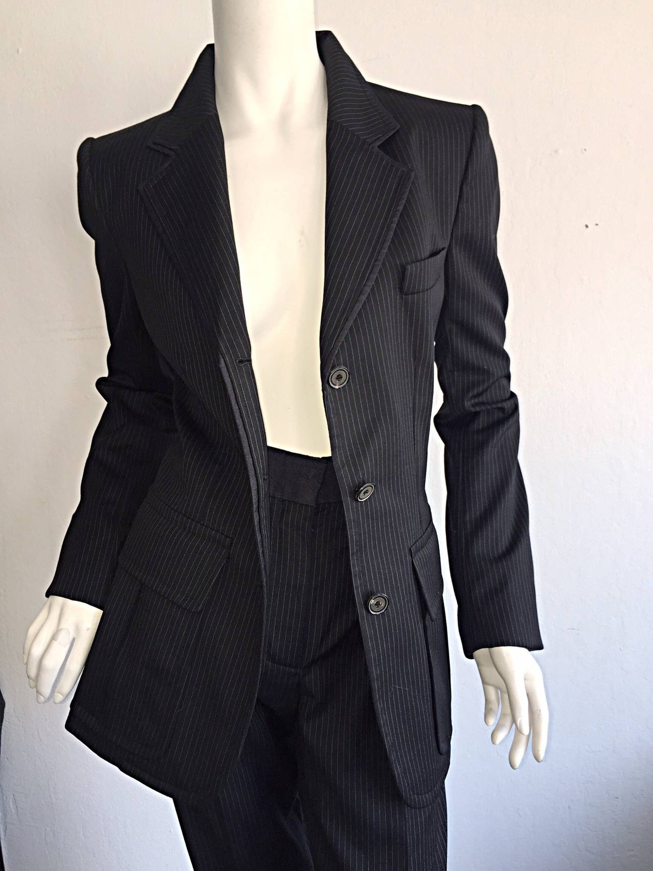 Women's Tom Ford for Yves Saint Laurent Black + White Pinstripe Le Smoking Trouser Suit For Sale