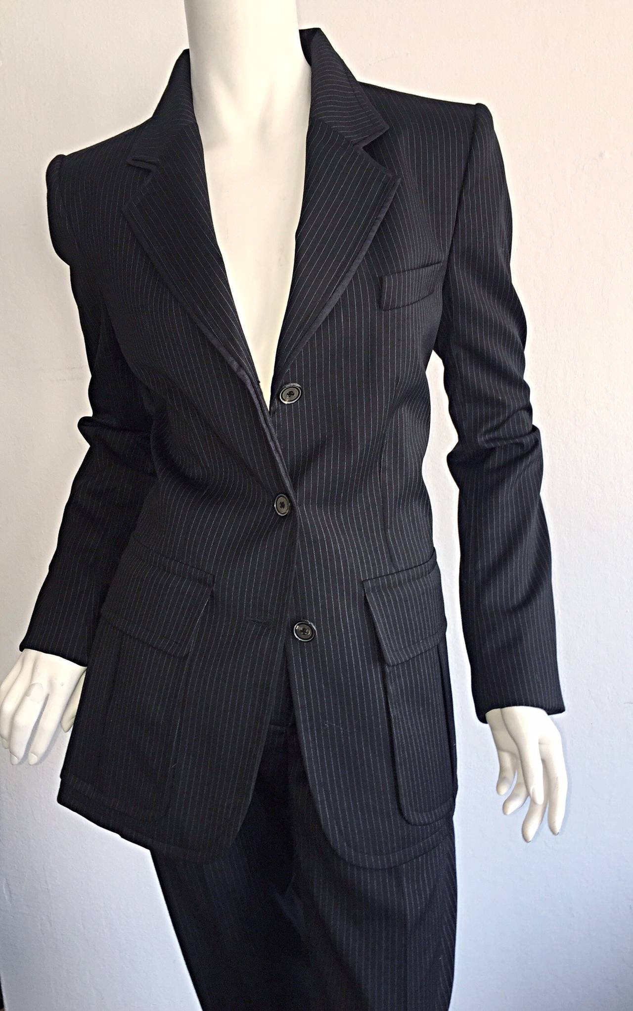 BRAND NEW, never worn, Yves Saint Laurent YSL  by Tom Ford! Classic take on the original 'le Smoking' suit by the ONE and ONLY Yves Saint Laurent! Black and white pinstripe, with a dark denim edging. Safari-style pockets on both sides of waist on