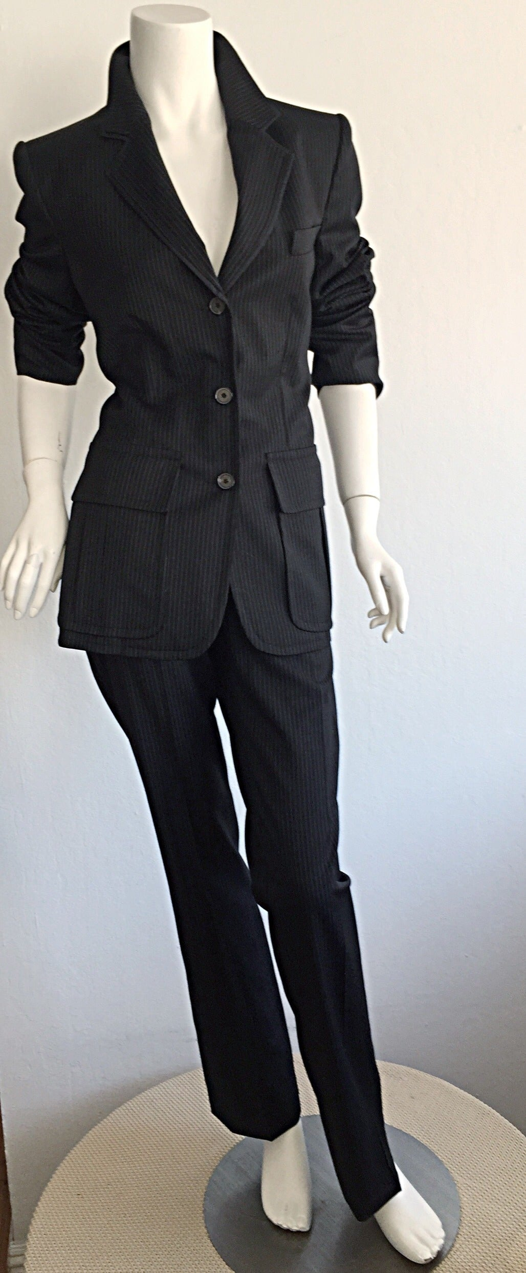 Tom Ford for Yves Saint Laurent Black + White Pinstripe Le Smoking Trouser Suit For Sale 4
