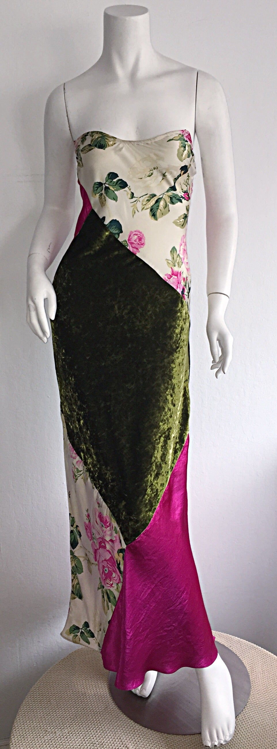 Beautiful 1990s Roberto Cavalli Floral Patchwork Pink + Green Silk Slip Dress 7