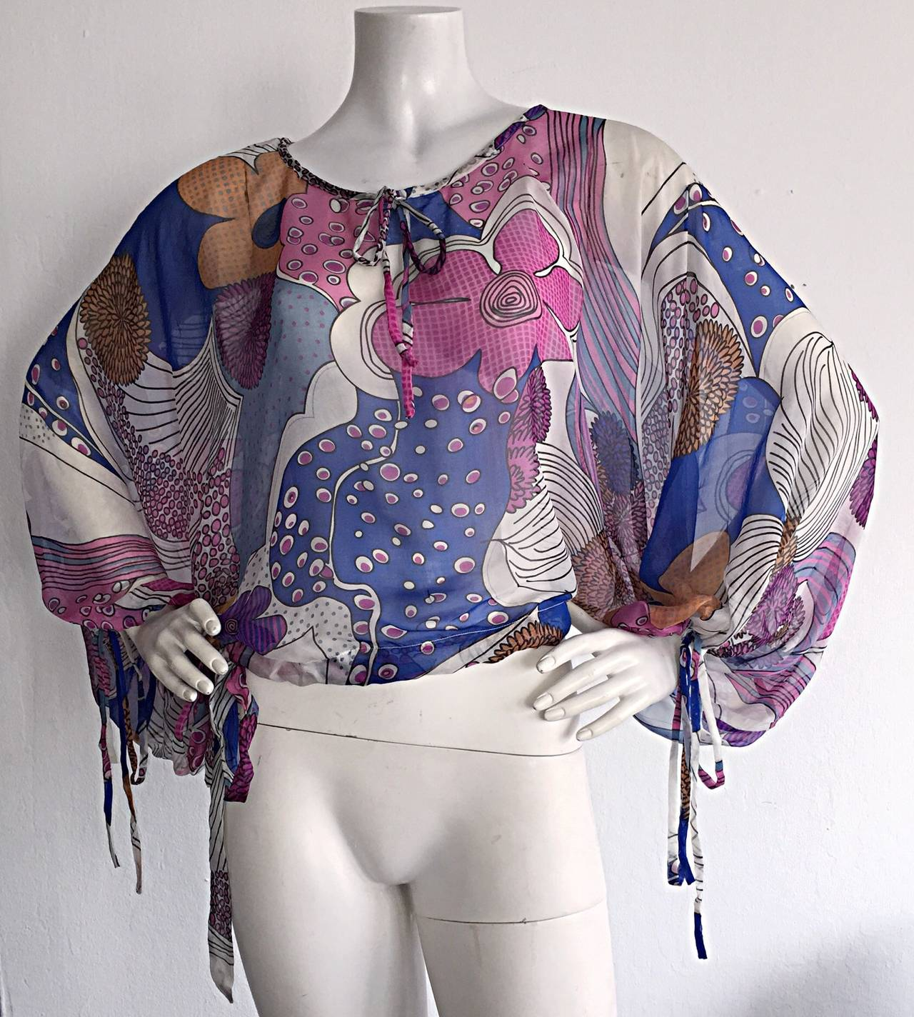 Gray Amazing Vintage Kenzo Colorful ' Flower Power ' Drawstring Boho Top / Blouse For Sale